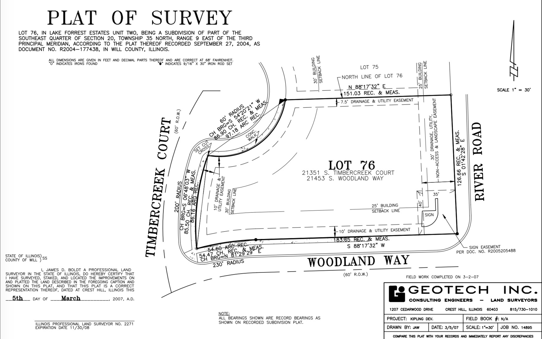Lot 76 South Timbercreek Court, Shorewood IL 60431